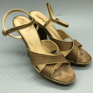 Authentic YSL raw silk platform strappy sandals